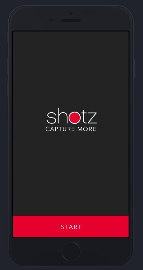 Shotz camera app - start view
